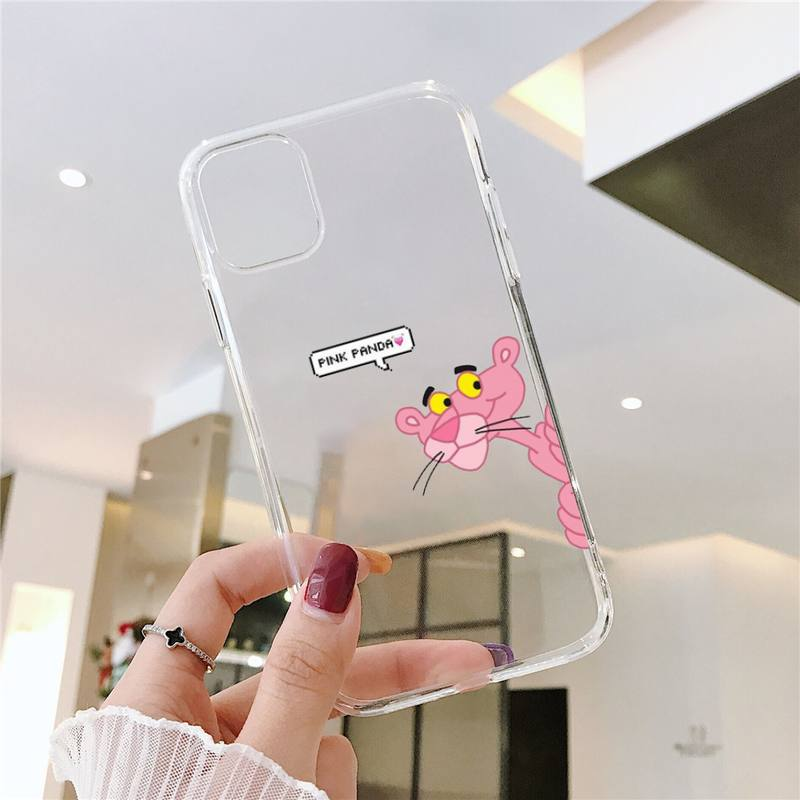 Pink Panther Cartoon cute Phone Cases Transparent for iPhone 6 7 8 11 12 s mini pro X XS XR MAX Plus SE cover funda shell capa  - buy with discount