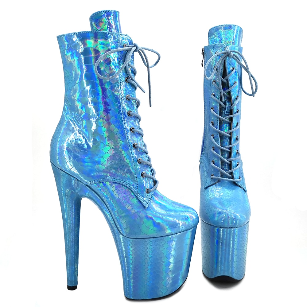 Leecabe  Purple holo snake 20CM/8inches High Heel platform Boots closed toe Pole Dance boots