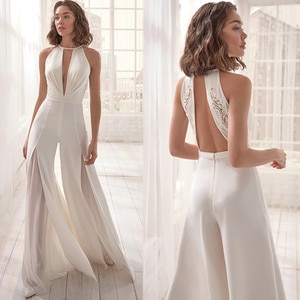 GY Boho Charming Pantsuit Weeding Dress Halter Floor-Length Backless Sleeveless Satin Appliques Sexy Bride Gown Robe De Marie