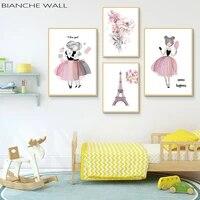 Affiches et imprimes de fleur de fille  aquarelle  dessin anime Kawaii  toile dart murale  peinture  image de Style nordique  pour salon  decoration de la maison