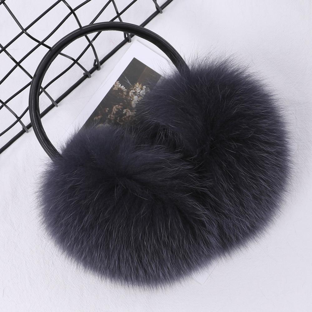 Real Fox Raccoon Fur Hang Ear Cover Warm Winter Earmuffs Headwear Ear Muffs Earmuffs Cold Ear Warmer Ear Protection Headband