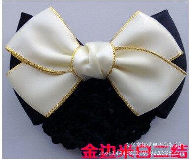 Professional head flower bank nurse Korean version bow net Gold trim hair accessories girl hair tie handmade ribbon gift FS041