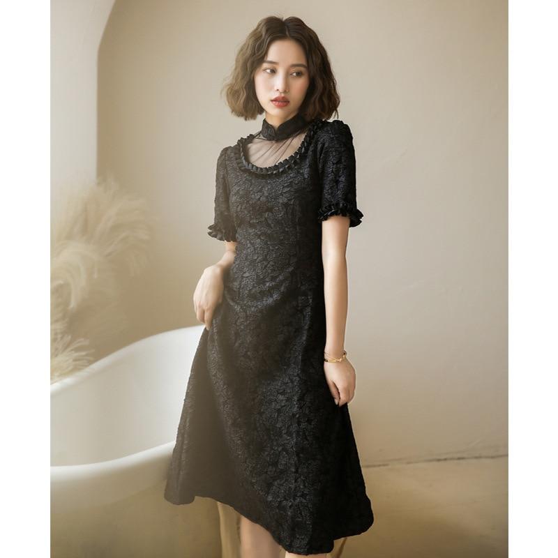 Autumn/winter new 2020 retro modified cheongsam young loose cheongsam skirt long dress cotton qipao B421