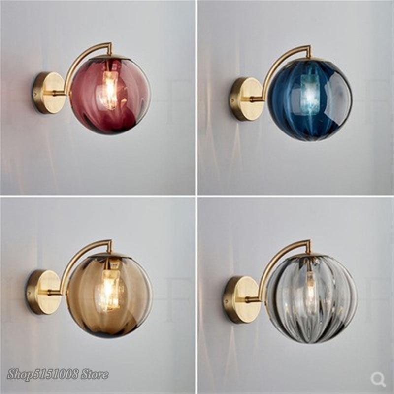 Modern Round Glass Wall Lights Led G9 Wall Lamp luminaire Iron Art  Nordic Living Room Bedroom Corridor Loft Home Decor Fixtures