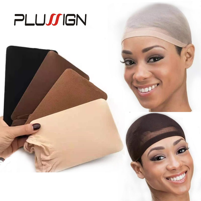 Plussign New Stocking Cap For Wigs 2Pcs Cheap Hair Net For Wigs Bald Cap Beige Brown Nylon Stocking Wig Cap Stretchy Hair Cap