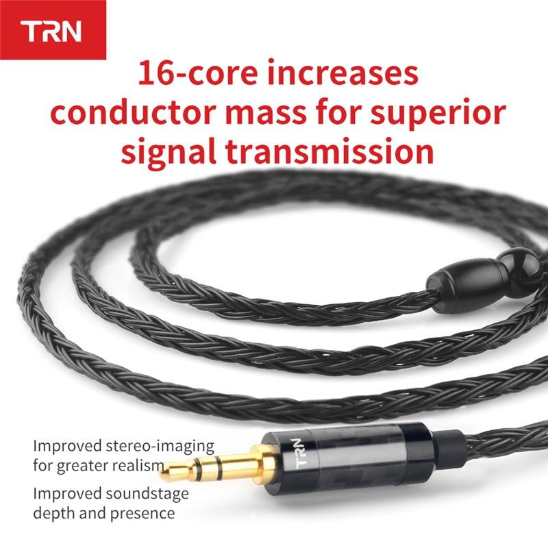 TRN 16 Core Chapado en plata 2,5/3,5mm Cable equilibrado a 0,75/0,78/mmcx conector Hifi auriculares Cable de actualización para TRN V80/KZ/TFZ