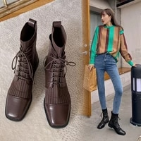 2020 new spring and autumn all match handsome thick heel short boots martin boots women square head knitted thin boots x302
