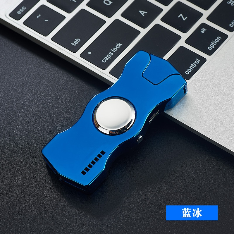 Adult Decompression Toys Luminous Metal Fidget Spiner Hand Spinner Top Spinners Stress USB Charging Lighters Fingertip Gyro E enlarge