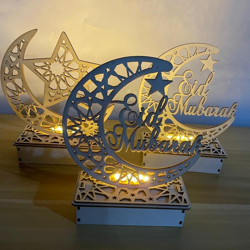SUCHUANGUANG 3 Pezzi//Set Islam Eid Ramadan Mubarak Decorazione Cava Lanterna appesa in Legno Baubles Artigianato Fai da Te Piastra Pendente