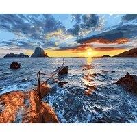 Peinture par numeros de paysage avec vagues silencieuses  dessin  peinture sur toile  decoration de maison peinte a la main