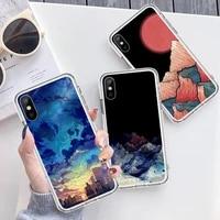 art minimalist painting mountain phone case transparent for iphone 6 7 8 11 12 s mini pro x xs xr max plus