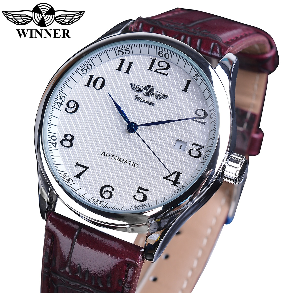 Winner Retro Classic Design White Silver Mechanical Watch Leather Band Automatic Clock Business Man