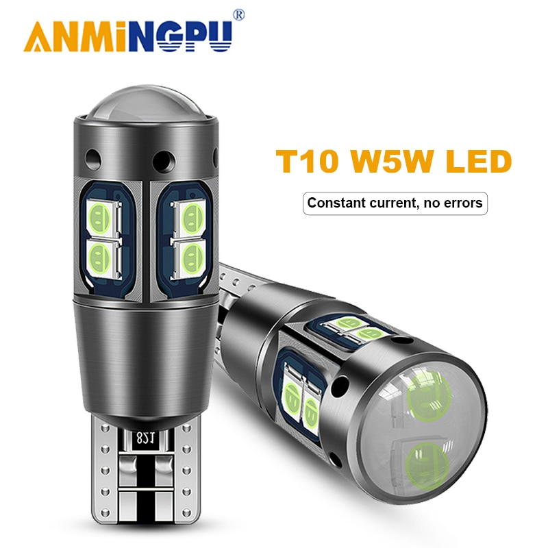 AMNINGPU 2x Signal Lamp T10 W5W 194 LED Canbus 10SMD 3030Chips Led Bulbs Auto Car Wedge Light Reading Dome 12V