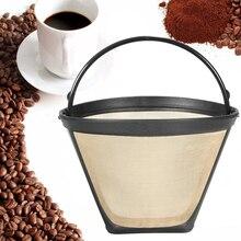 Stożkowy filtr do kawy wielokrotnego użytku 10-12 filiżanek stały ekspres do kawy filtr do maszyny złota siatka z uchwytem Cafe Coffee Tools