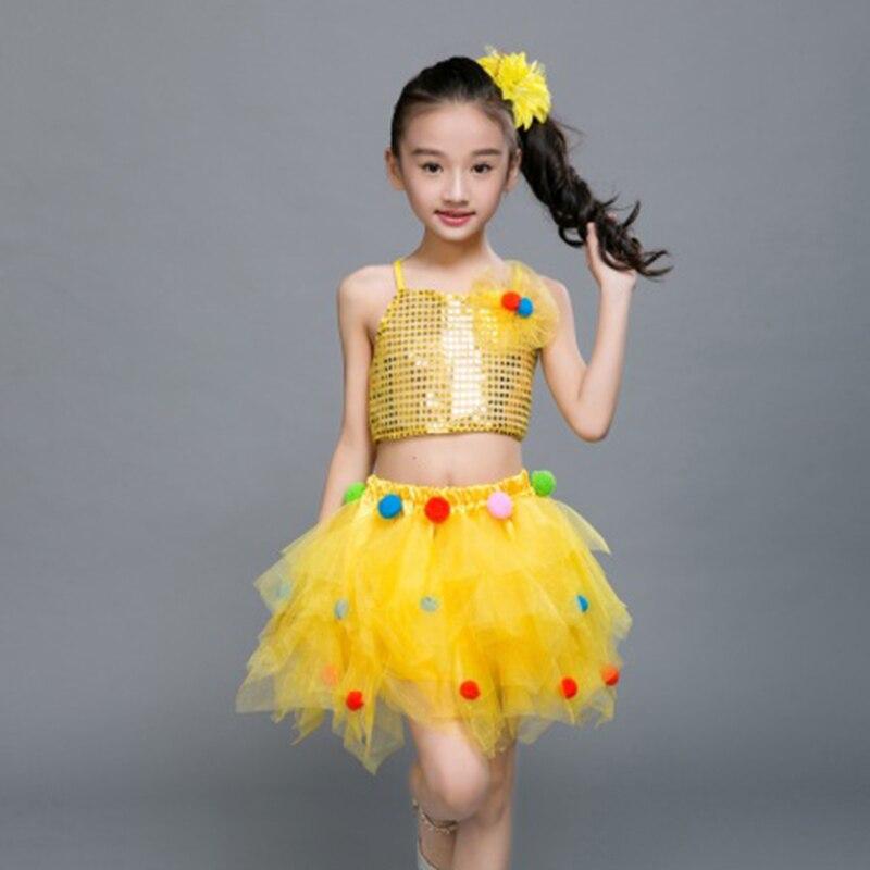 Childrens ballet  new childrens princess dress colorful yarn skirt pettiskirt sequins jazz dance costumes modern