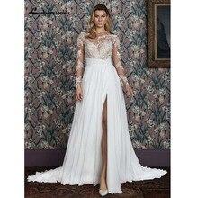 Proste aplikacje długie rękawy suknie ślubne Plus rozmiar suknie ślubne wysoki podział wzburzyć Sweep pociąg szaty De Mariée