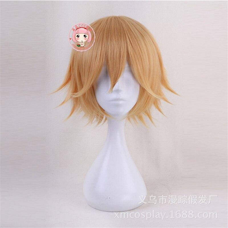 Pelucas de Anime Aotu World King Cosplay peluca corta rubia resistente al calor traje de juego de rol sintético