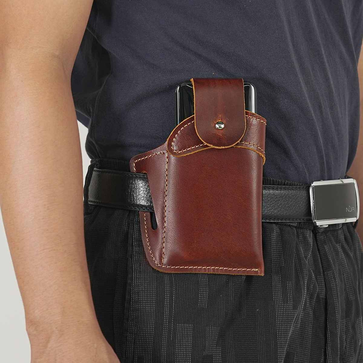 hunting axe hatchet head cover ax blade sheath belt loop holster thick genuine leather coffee color New Retro Men's Cellphone Loop Holster Case Belt Waist Bag Props Multi-function Genuine Leather Purse Buckle Phone Wallet Gift