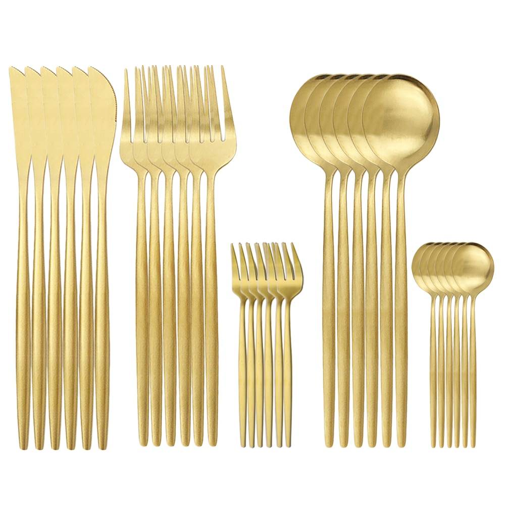 طقم أدوات مائدة من الفولاذ المقاوم للصدأ ذهبي غير لامع ، 30 قطعة ، خدمة عشاء ، سكاكين ، ملعقة ، شوكة ، أدوات مائدة للمطبخ