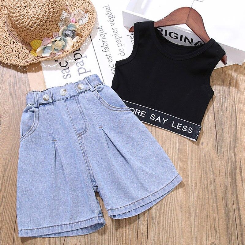 Conjunto de ropa de verano para niñas pequeñas, ropa para bebés, camiseta + pantalones vaqueros, ropa de moda para niños, traje para niñas, 1 2 3 4 6 7 años