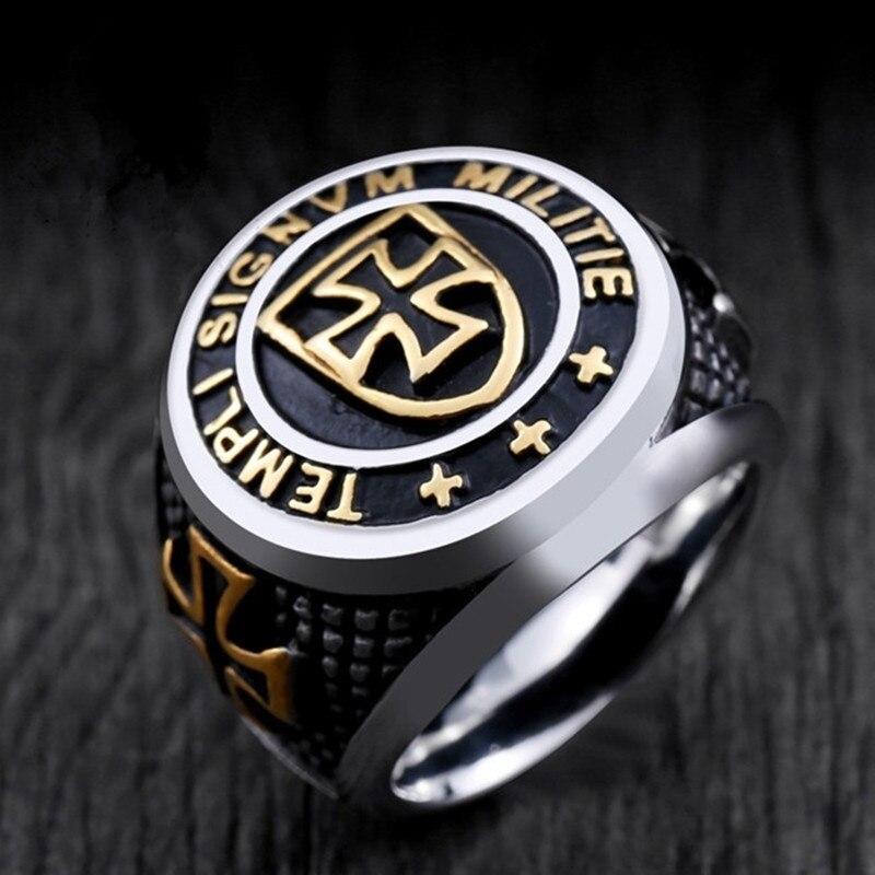 Винтажный средневековый крестоносник Рыцари крест тамплиеров панк перстень кольцо Мат Кольца