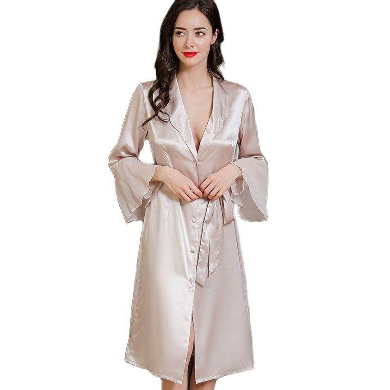 Женские халаты из натурального шелка с длинными рукавами, весенне-летние однотонные халаты для сна из 100% шелка, P9952