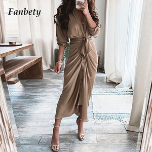 Office Lady Fashion Draped Lace-Up Shirt Dresses Autumn Spring Elegant Solid V-Neck Button Chic Party Dresses Women Casual Dress
