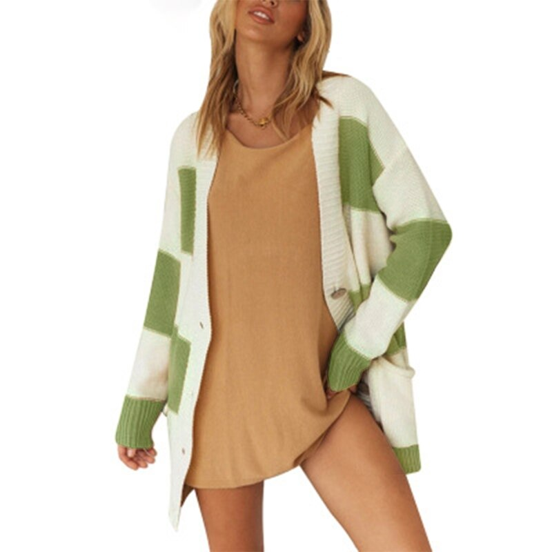 Women Knit Sweater Cardigan with Pockets Stripe Long Sleeve Single Breasted Coat enlarge