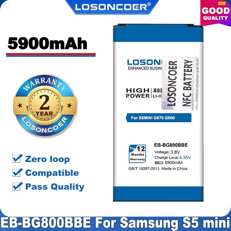 100% Original LOSONCOER 5900mAh EB-BG800BBE NFC de la batería del teléfono celular para SAMSUNG Galaxy S5 Mini NFC G870 G800 G800F G800H + en Stock