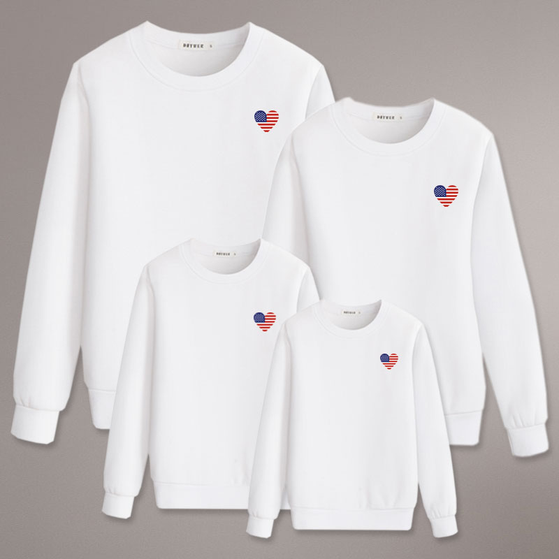 family matching outfits america heart love for daddy mommy and me kids sweatshirt winter clothes cot