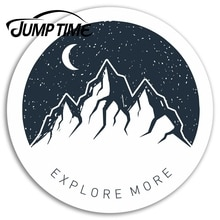 Jump Time for Explore Mountains Vinyl Stickers Moon Sticker Laptop Luggage Car Bumper Decal Waterpro