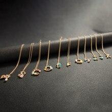 2020 self dom Initial multicolore collier couleur or lettre collier nom bijoux pour femmes accessoires petite amie cadeau