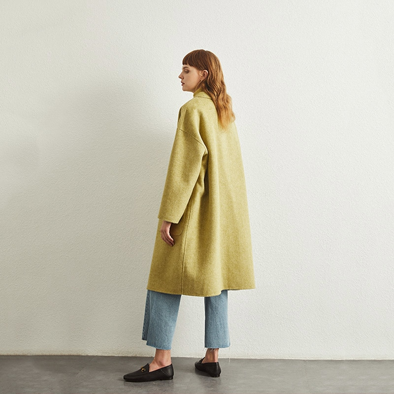 Productos de lujo 100% abrigo de lana para mujer 2020 abrigo de lana de gama alta para mujer tejido largo suelto abrigo de Cachemira de talla grande para mujer bolsillos grandes