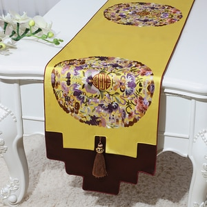 Custom Luxury Lucky Christmas Damask Table Runners Chinese style Party Decor Coffee Mat Pad  Silk Brocade Dining Tablecloth