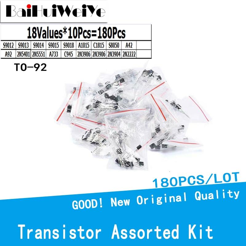 180PCS/LOT Triode Transistor Assorted Kit 18kinds*10pcs=180pcs 2N2222 S9013 S9014 S9015 S9018 S8050 S8550 5551 5401 2N3904 TO-92