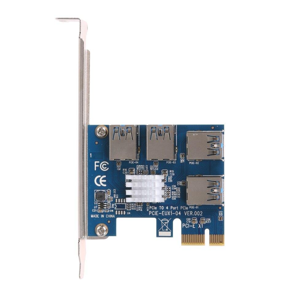 EUX1-04 PCI-E إلى PCI-E بطاقة محول 1 إلى 4 PCI-E إلى PCI-E فتحة واحدة ل أربعة محول بطاقة محول USB3.0 BTC التعدين بطاقة خاصة