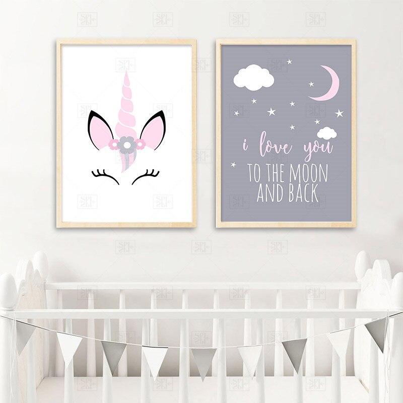 Póster de lona de unicornio para bebé niña, citas de guardería, Impresión de arte de pared, cuadro de amor a la Luna, habitación nórdica para niños, cuadro decorativo