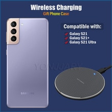 Fast Qi Wireless Charging for Samsung Galaxy S21 Ultra Plus S21+ 5G 10W Wireless Charger Pad Gift TP