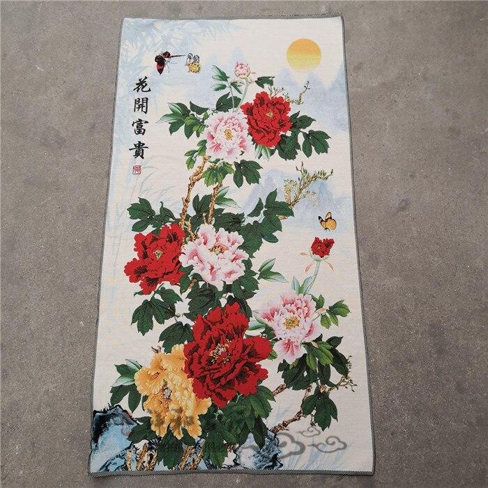 Decoración de la pared del fondo del sofá de estilo chino, flores que florecen, imágenes colgantes ricas y nobles
