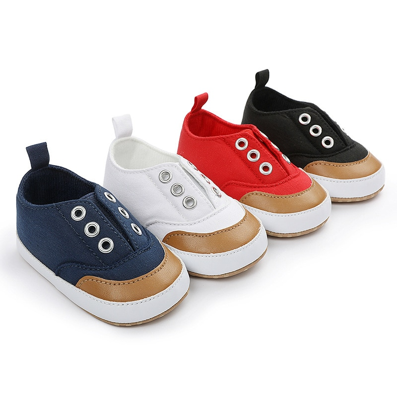 0-1 Year Old Baby Canvas Walking Shoes Red Slip on Prewalker for Newborn