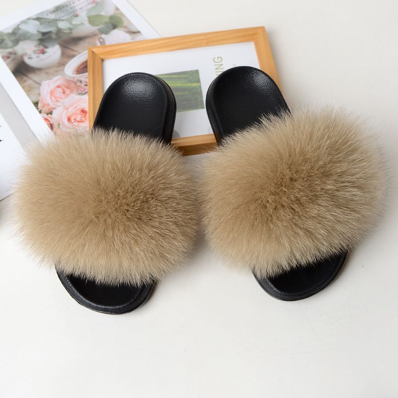 QIANMAOHUI Fur slippers for women real fox fur plush flat sandals for women lovely plush shoes for w