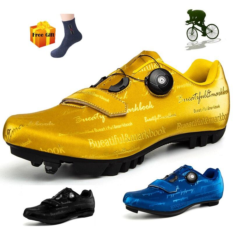 MTB-zapatos de Ciclismo de carretera para hombre, calzado profesional ultraligero con autosujeción...