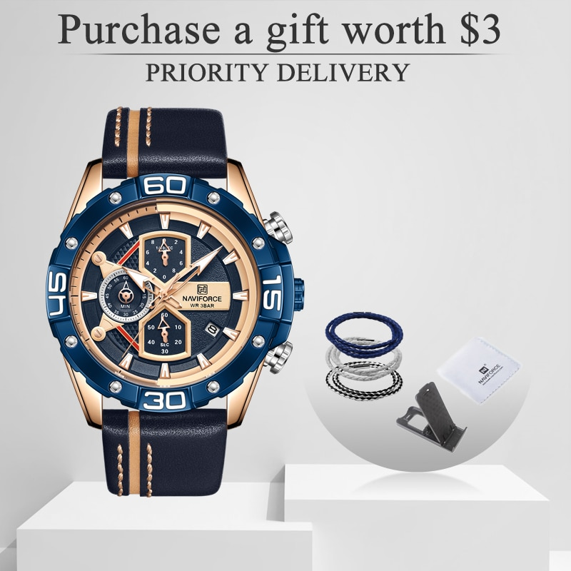 NAVIFORCE Sport Watches for Men Luxury Brand Blue Military Genuine Leather Wrist Watch Man Clock Fas