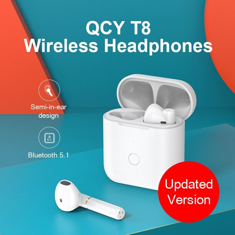 QCY T8 Wireless  Sport Headphones, Bluetooth V5.1 Semi-In-Ear Earphones Met Type-C Interface, App Custom