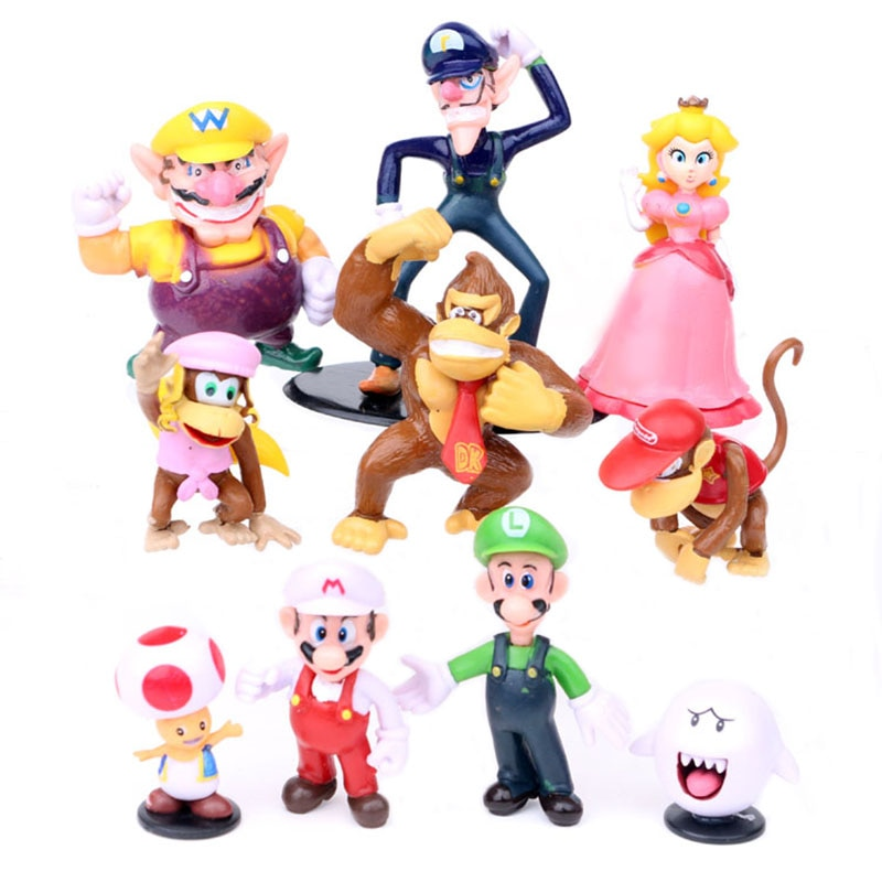 Figuras de acción de Super Mario Bros, Luigi, Peach, Donkey Kong, juguetes de 7cm en PVC, 10 unidades por lote