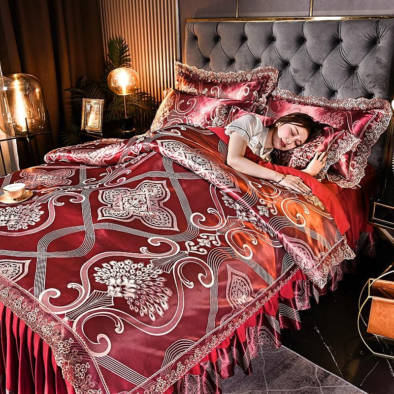 RainFire سرير فاخر مجموعة الجاكار الساتان تنورة نوم حاف مجموعة غطاء أربع قطع الدانتيل المفرش الشمال نمط الملك الملكة طقم سرير