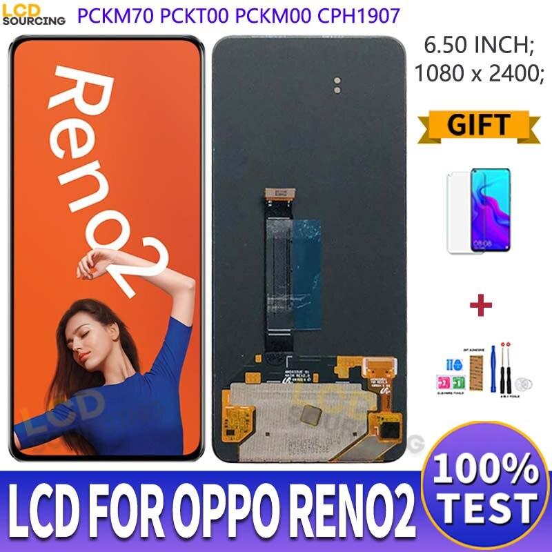 شاشة AMOLED LCD مقاس 6.5 بوصة لهاتف Oppo Reno 2 ، مجموعة المحولات الرقمية لشاشة اللمس لـ Oppo Reno2 ، استبدال PCKM70 PCKT00 PCKM00