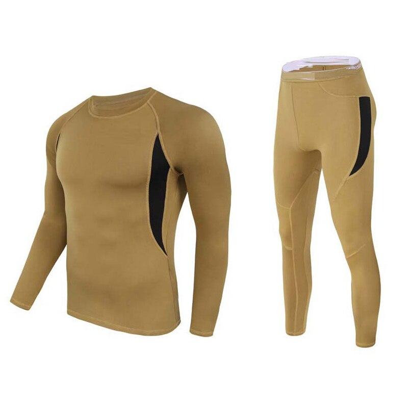 Gran oferta de ropa interior de compresión térmica para hombre, ropa interior de esquí de color caqui, ropa interior térmica para invierno