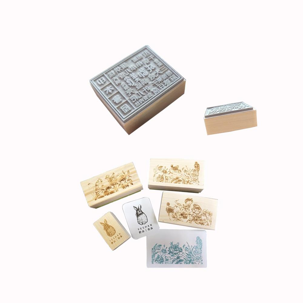 Diy álbum de recortes almohadilla de tinta de madera sello de goma personalizado logo o carta para boda y regalo