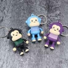 Mignon singe porte-clé lumière LED son porte-clés Animal lampe de poche porte-clés enfant cadeau jouet femmes hommes sac accessoires